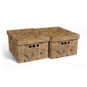 Набор картонных ящиков для хранения А4 старая газета 2шт 0611.1
