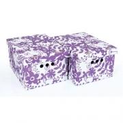 Набор картонных ящиков для хранения А4 фиолетовые цветы  2шт 0611.12