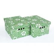 Набор картонных ящиков для хранения А4 зеленый мак 2шт 0611.15