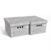 Набор картонных ящиков для хранения А4 серый мрамор 2шт 0611.31
