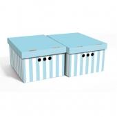 Набор картонных ящиков для хранения А4 голубые полосы 2 шт 0611.33