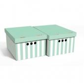 Набор картонных ящиков для хранения А4 зеленые полосы 2 шт 0611.34