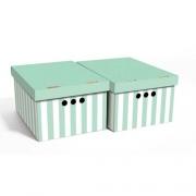 Набор картонных ящиков для хранения А4, зеленые полосы 2 шт.