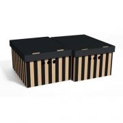 Набор картонных ящиков для хранения А4 черные полосы 2шт 0611.36