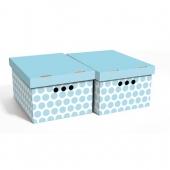 Набор картонных ящиков для хранения А4 голубой горох 2 шт 0611.37
