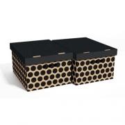 Набор картонных ящиков для хранения А4 черный горох 2шт 0611.40