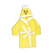 Детский махровый халат (7-8 лет), жёлтый.