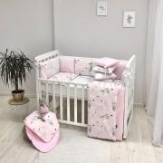 Постельный комплект Baby Design Коты в облаках розовый 6 ед.