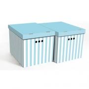 Набор картонных ящиков для хранения XL синие полосы 2шт 1217.33