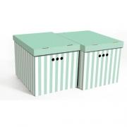 Набор картонных ящиков для хранения XL зеленые полосы 2шт 1217.34
