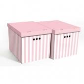 Набор картонных ящиков для хранения XL розовые полосы 2 шт 1217.35