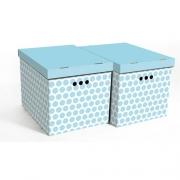 Набор картонных ящиков для хранения XL голубой горох 2шт 1217.37