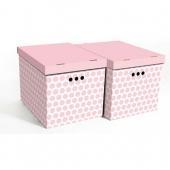 Набор картонных ящиков для хранения XL розовый горох 2 шт 1217.39