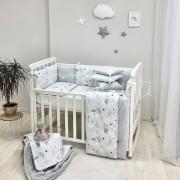 Постельный комплект Baby Design Коты в облаках серый 6 ед.