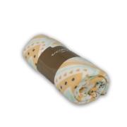 Плед флисовый Полар зигзаг оранжево-салатово-серый 130*160