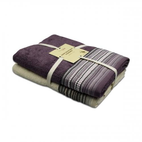 """Набор махровых полотенец """"ТЕО"""", 68х128см, 450гр/м2 (кремово-фиолетовый) 2шт."""