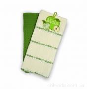 Набор вафельных кухонных полотенец 2 шт. 45х70 Яблоко зеленое