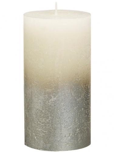 Свеча Рустик столбик тень Серебро/Золото 130/68 Кремовая 646705