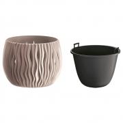 Горшок для цветов круглый Sandy Bowl с вкладышем, 180мм мокка