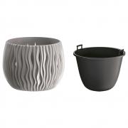 Горшок для цветов круглый Sandy Bowl с вкладышем, 180мм серый