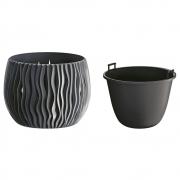 Горшок для цветов круглый Sandy Bowl с вкладышем, 180мм антрацит