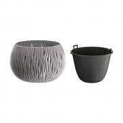 Горшок для цветов круглый Sandy Bowl с вкладышем, 290мм серый 23063-405