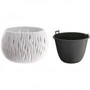 Горшок для цветов круглый Sandy Bowl с вкладышем, 370мм белый