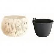 Горшок для цветов круглый Sandy Bowl с вкладышем, 180мм крем