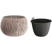 Горшок для цветов круглый Sandy Bowl с вкладышем, 370мм мокка