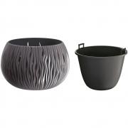 Горшок для цветов круглый Sandy Bowl с вкладышем, 290мм антрацит