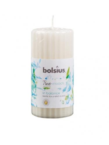 Свеча столбик ребристая 120/58 с ароматом in balance Белый чай и листья мяты 266713