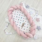 Кокон - бортик для новорожденных коса пудра