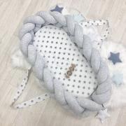 Кокон - бортик для новорожденных коса серый