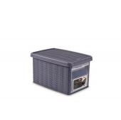Ящик для хранения с крышкой и фронтальной дверцей Stefanplast ELEGANCE S голубая 30041
