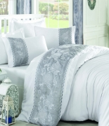 Комплект постельного белья Dantela Vita Embroidered Akel beyaz-gri евро бело-серый
