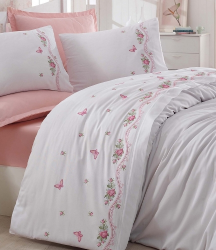 Комплект постельного белья Dantela Vita Embroidered Bella krem евро кремовый