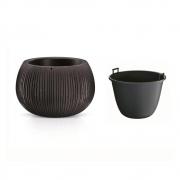 Горшок для цветов Beton Bowl 370мм круглый с вкладышем черный 65933-411