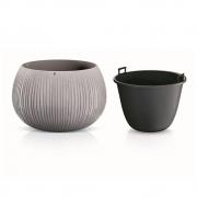 Горшок для цветов Beton Bowl 370мм круглый с вкладышем бетон 65933-422