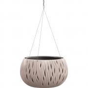 Горшок для цветов круглый Sandy Bowl WS с вкладыш.подвес, 370мм мокка