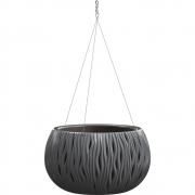 Горшок для цветов круглый Sandy Bowl WS с вкладыш.подвес, 370мм антрацит