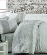Комплект постельного белья Dantela Vita Embroidered Akel krem-bej евро кремо-бежевый