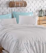 Комплект постельного белья Dantela Vita Embroidered Jenna beyaz-mint евро белый-ментоловый