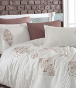 Комплект постельного белья Dantela Vita Embroidered Ottoman kahve-krem евро кофейный-крем