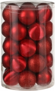 Елочные шарики пластиковые комплект 16 шт цвет красный 24106