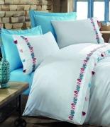 Комплект постельного белья Dantela Vita Embroidered Valeria mavi евро голубой
