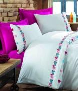 Комплект постельного белья Dantela Vita Embroidered Valeria fusya евро