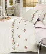 Комплект постельного белья Dantela Vita Embroidered Kanavice krem-pudra евро крем-пудра