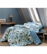 Комплект постельного белья Tac сатин Digital Barock mavi v01 евро голубой
