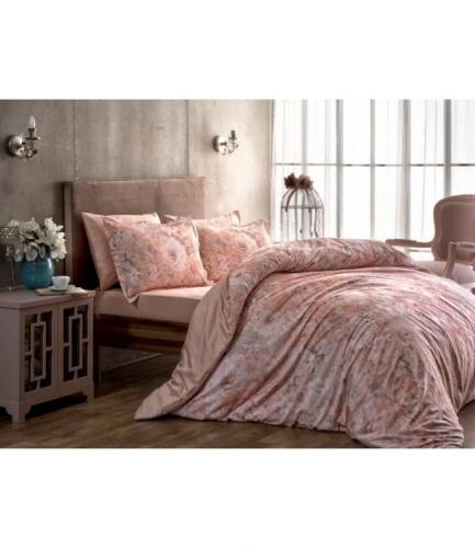 Комплект постельного белья Tac сатин Digital Blanche pembe v01 евро розовый