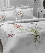 Комплект постельного белья Tac сатин Delux Nicole V01 семейный розовый